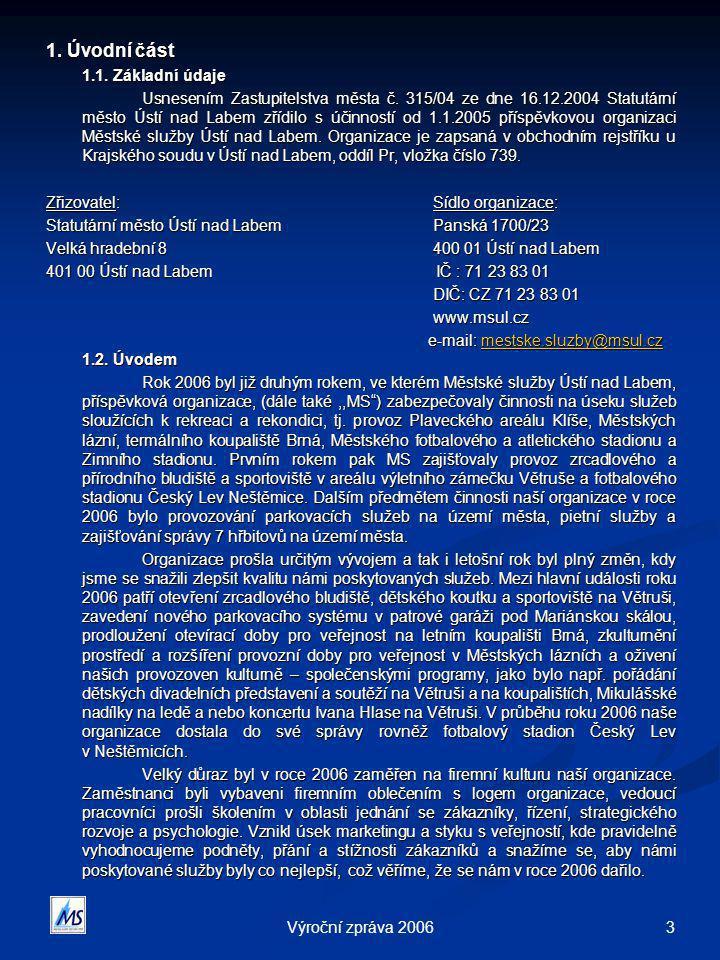 3Výroční zpráva 2006 1. Úvodní část 1.1. Základní údaje Usnesením Zastupitelstva města č. 315/04 ze dne 16.12.2004 Statutární město Ústí nad Labem zří