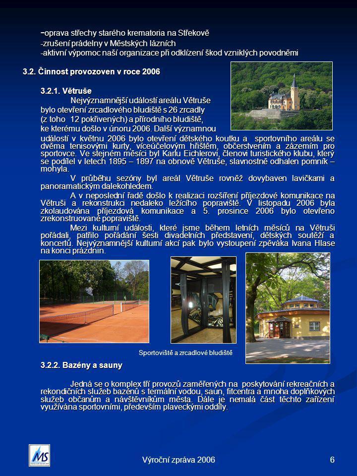 6Výroční zpráva 2006 - oprava střechy starého krematoria na Střekově -zrušení prádelny v Městských lázních -aktivní výpomoc naší organizace při odklíz