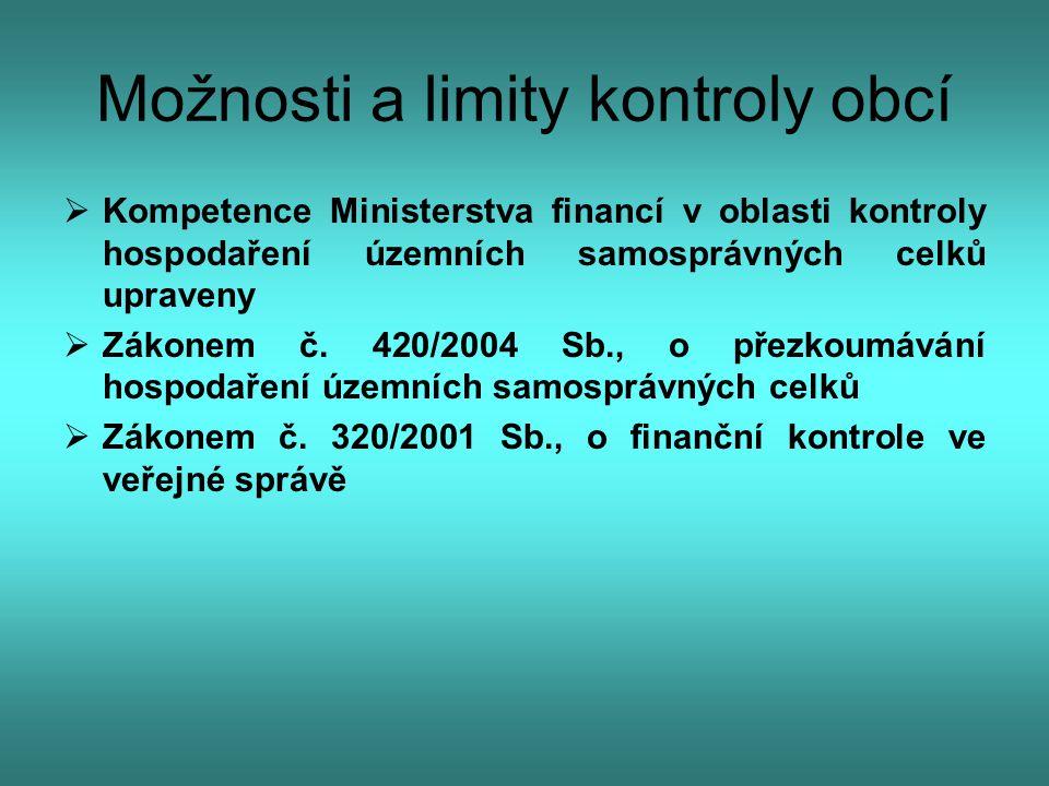 Možnosti a limity kontroly obcí  Kompetence Ministerstva financí v oblasti kontroly hospodaření územních samosprávných celků upraveny  Zákonem č. 42