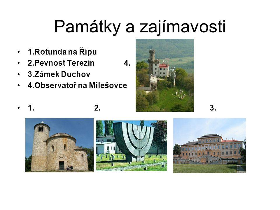 Památky a zajímavosti •1.Rotunda na Řípu •2.Pevnost Terezín 4.