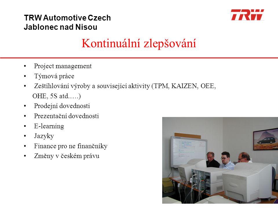 Kontinuální zlepšování TRW Automotive Czech Jablonec nad Nisou •Project management •Týmová práce •Zeštíhlování výroby a související aktivity (TPM, KAI