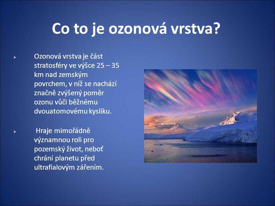 Co to je ozonová vrstva?  Ozonová vrstva je část stratosféry ve výšce 25 – 35 km nad zemským povrchem, v níž se nachází značně zvýšený poměr ozonu vů