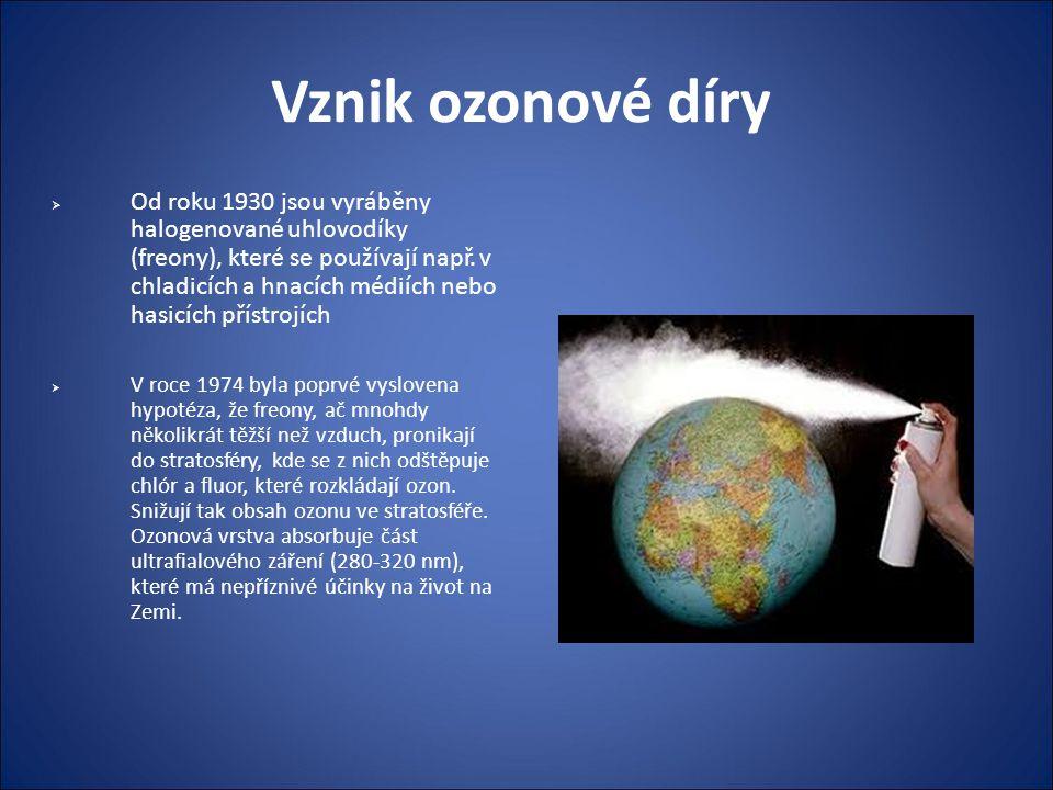 První pozorování ozonové díry  Ozonová díra byla poprvé pozorována roku 1981 nad Antarktidou, když si brit Joseph Farman s jeho týmem všimli pravidelného jarního výkyvu koncentrace ozonové vrstvy.