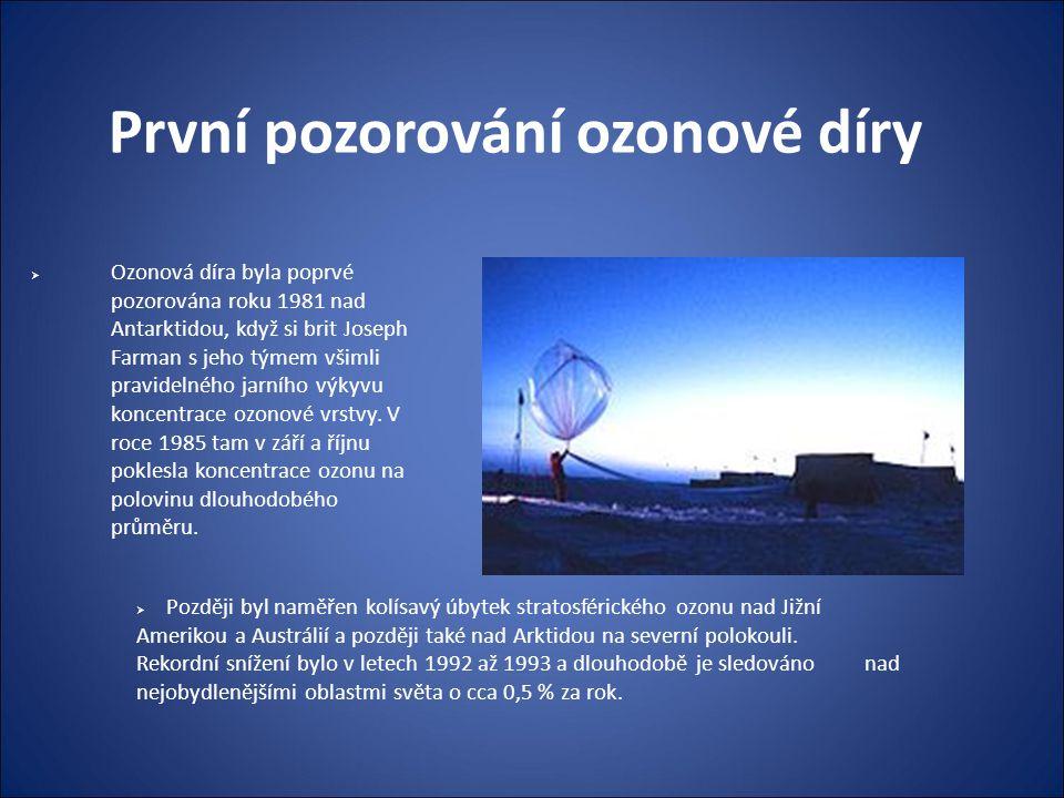První pozorování ozonové díry  Ozonová díra byla poprvé pozorována roku 1981 nad Antarktidou, když si brit Joseph Farman s jeho týmem všimli pravidel