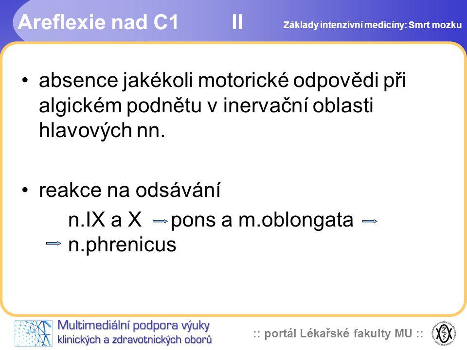 :: portál Lékařské fakulty MU :: Areflexie nad C1 II •absence jakékoli motorické odpovědi při algickém podnětu v inervační oblasti hlavových nn. •reak