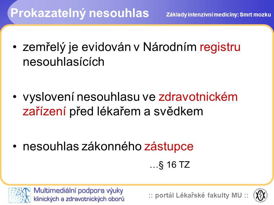 :: portál Lékařské fakulty MU :: Prokazatelný nesouhlas •zemřelý je evidován v Národním registru nesouhlasících •vyslovení nesouhlasu ve zdravotnickém
