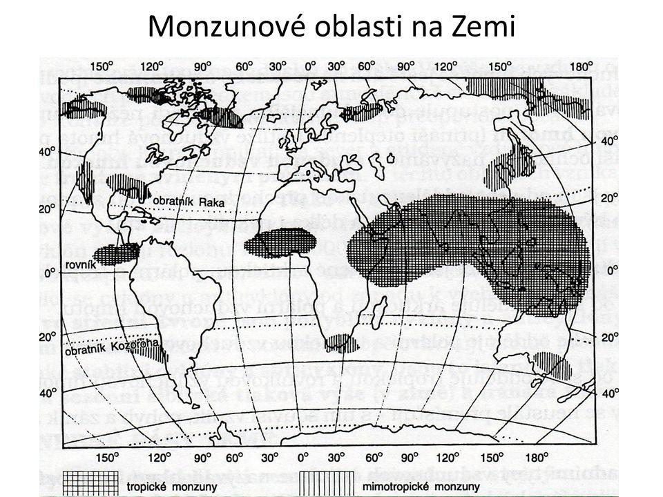 Monzunové oblasti na Zemi
