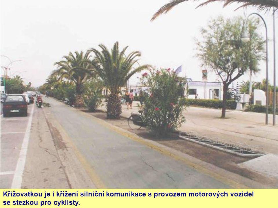 Křižovatkou je i křížení silniční komunikace s provozem motorových vozidel se stezkou pro cyklisty.