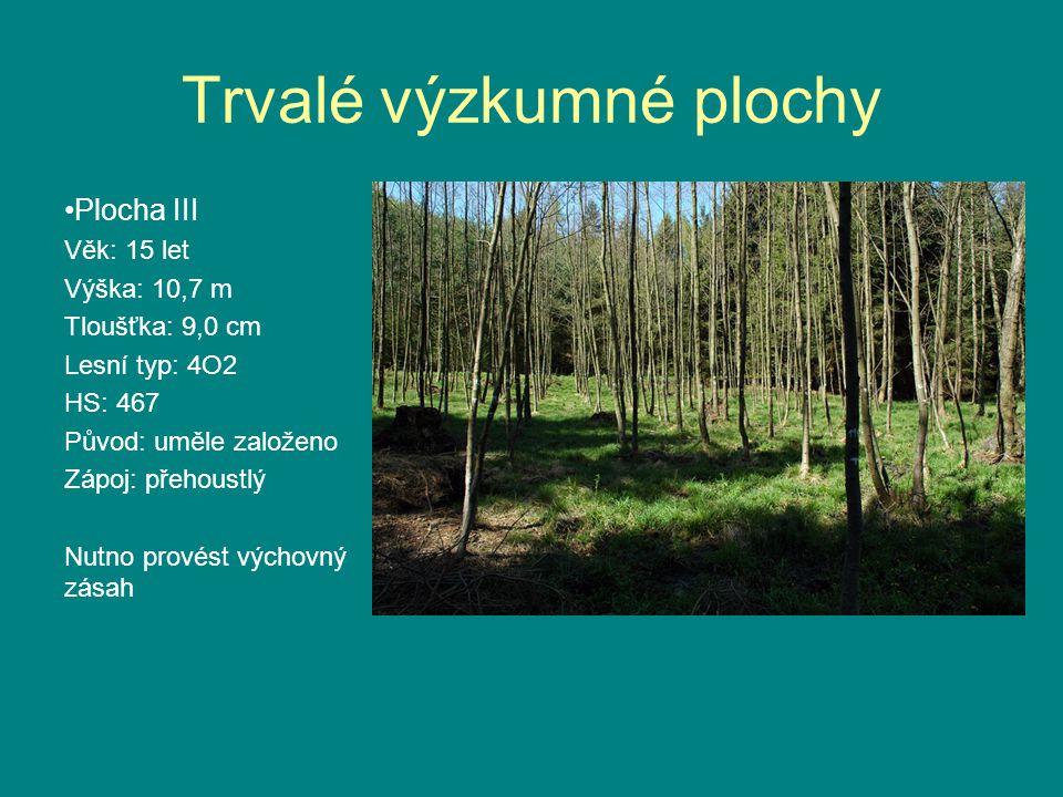 Trvalé výzkumné plochy •Plocha III Věk: 15 let Výška: 10,7 m Tloušťka: 9,0 cm Lesní typ: 4O2 HS: 467 Původ: uměle založeno Zápoj: přehoustlý Nutno provést výchovný zásah