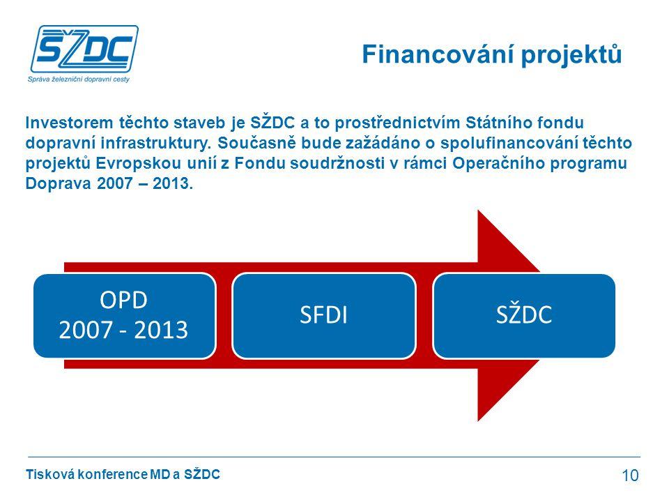 Tisková konference MD a SŽDC Financování projektů 10 Investorem těchto staveb je SŽDC a to prostřednictvím Státního fondu dopravní infrastruktury. Sou