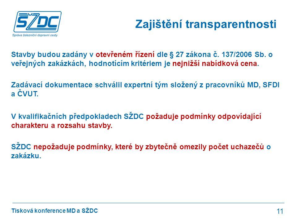 Tisková konference MD a SŽDC Zajištění transparentnosti 11 Stavby budou zadány v otevřeném řízení dle § 27 zákona č. 137/2006 Sb. o veřejných zakázkác