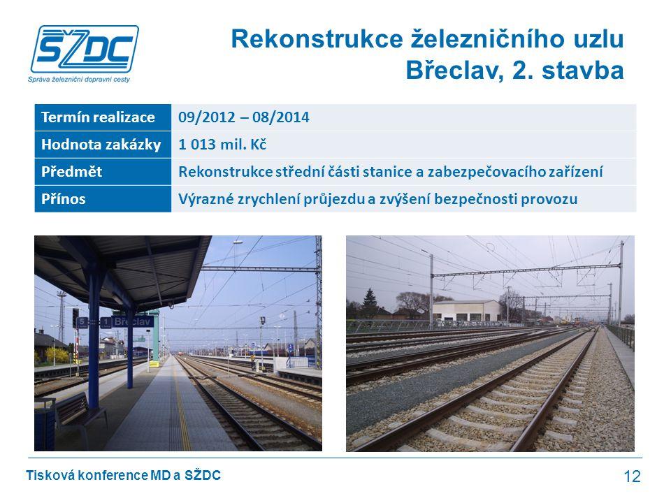 Tisková konference MD a SŽDC Rekonstrukce železničního uzlu Břeclav, 2. stavba 12 Termín realizace09/2012 – 08/2014 Hodnota zakázky1 013 mil. Kč Předm