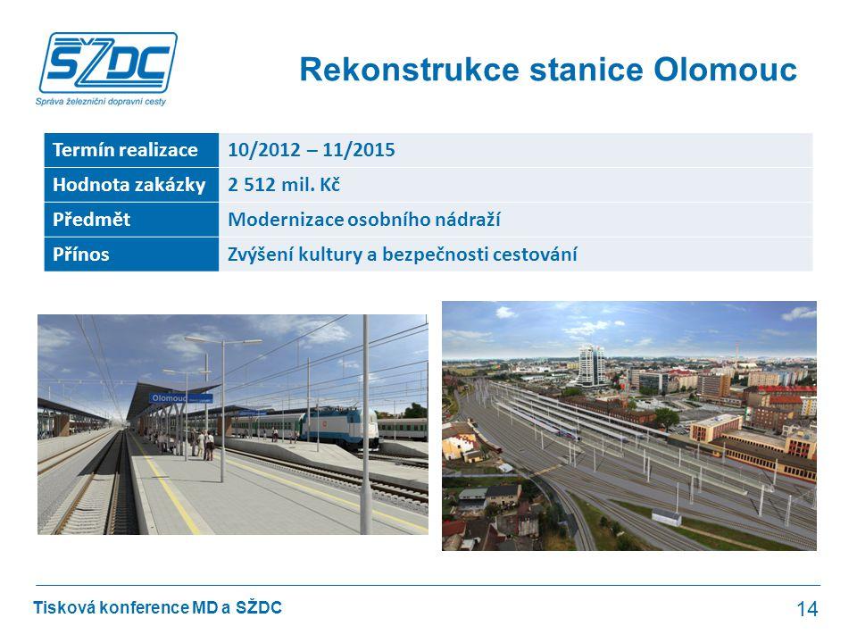 Tisková konference MD a SŽDC Rekonstrukce stanice Olomouc 14 Termín realizace10/2012 – 11/2015 Hodnota zakázky2 512 mil. Kč PředmětModernizace osobníh