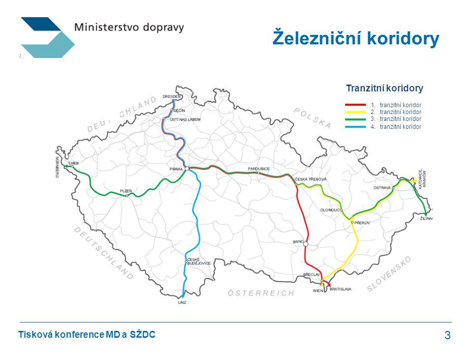Tisková konference MD a SŽDC Železniční koridory 3 1.tranzitní koridor 2.tranzitní koridor 3.tranzitní koridor 4.tranzitní koridor Tranzitní koridory