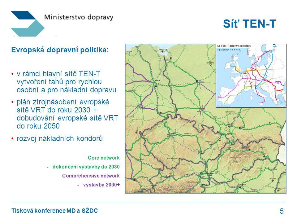 Tisková konference MD a SŽDC Síť TEN-T 5 Evropská dopravní politika: •v rámci hlavní sítě TEN-T vytvoření tahů pro rychlou osobní a pro nákladní dopra