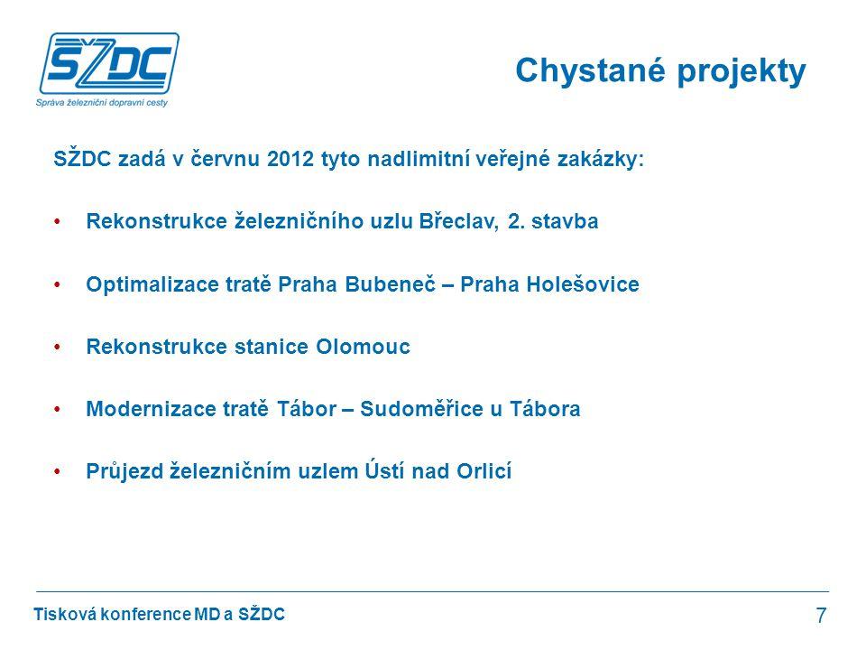 Tisková konference MD a SŽDC Chystané projekty 7 SŽDC zadá v červnu 2012 tyto nadlimitní veřejné zakázky: •Rekonstrukce železničního uzlu Břeclav, 2.