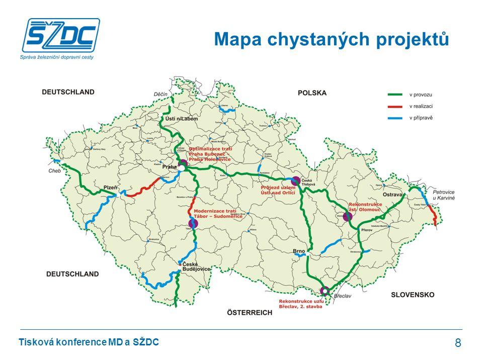 Tisková konference MD a SŽDC Cíle projektů 9 Účelem staveb je úprava železniční infrastruktury s cílem dosáhnout: •co nejvyšší traťové rychlosti (160 km/h, případně až 200 km/h na 4.