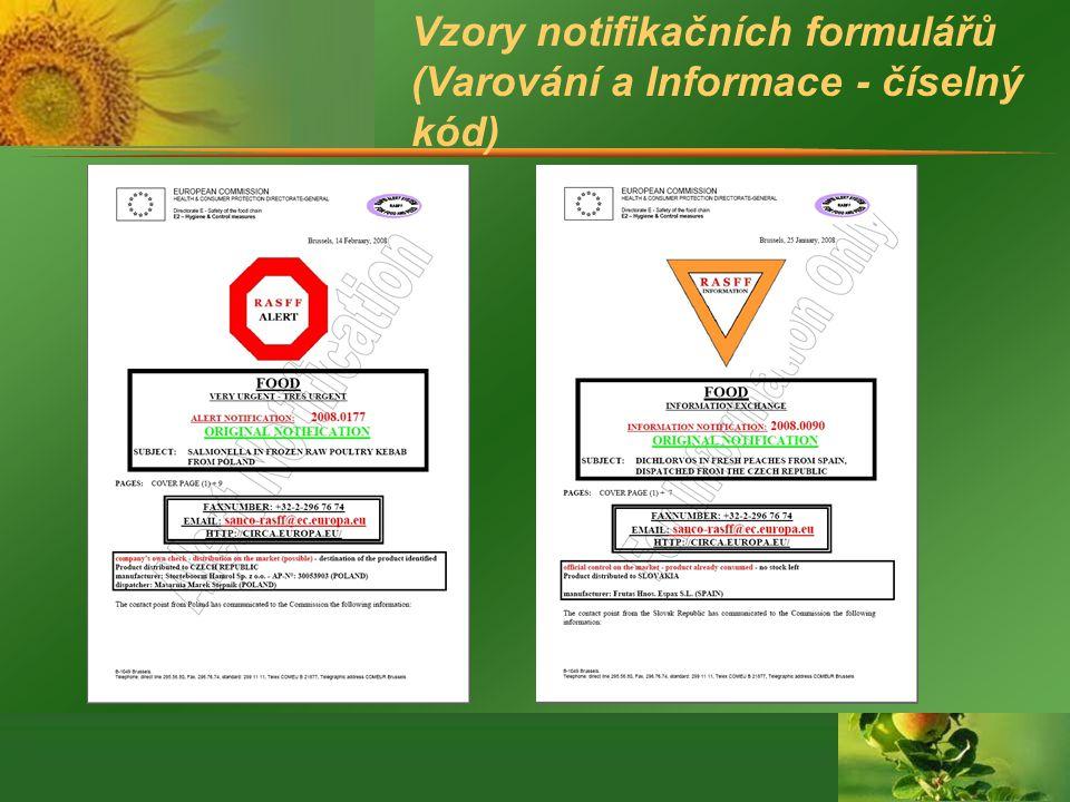 Vzory notifikačních formulářů (Varování a Informace - číselný kód)