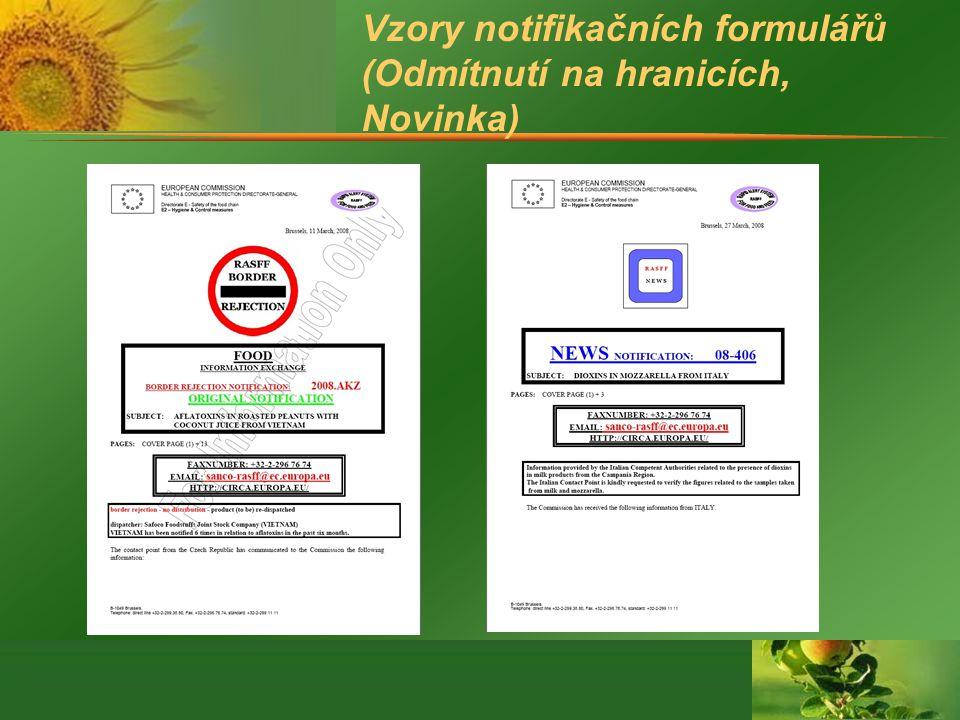 Vzory notifikačních formulářů (Odmítnutí na hranicích, Novinka)