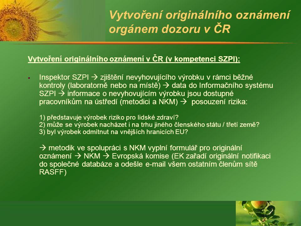Vytvoření originálního oznámení orgánem dozoru v ČR Vytvoření originálního oznámení v ČR (v kompetenci SZPI):  Inspektor SZPI  zjištění nevyhovujícího výrobku v rámci běžné kontroly (laboratorně nebo na místě)  data do Informačního systému SZPI  informace o nevyhovujícím výrobku jsou dostupné pracovníkům na ústředí (metodici a NKM)  posouzení rizika: 1) představuje výrobek riziko pro lidské zdraví.