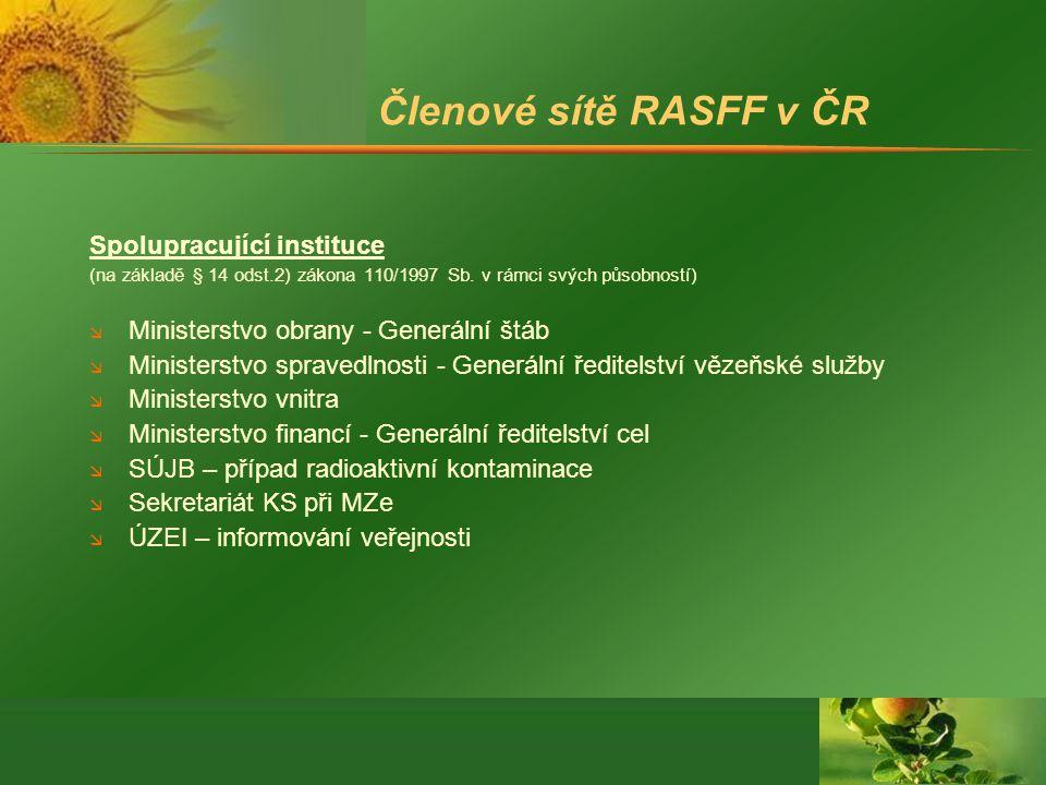 Členové sítě RASFF v ČR Spolupracující instituce (na základě § 14 odst.2) zákona 110/1997 Sb.