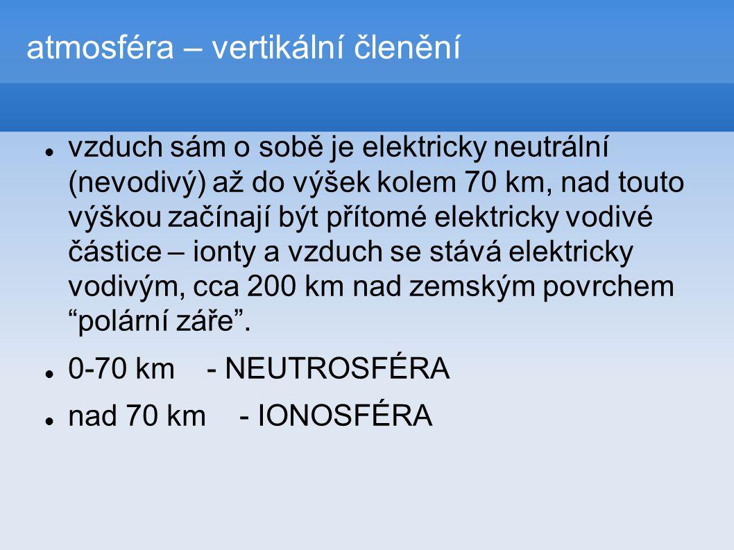 atmosféra – vertikální členění  vzduch sám o sobě je elektricky neutrální (nevodivý) až do výšek kolem 70 km, nad touto výškou začínají být přítomé elektricky vodivé částice – ionty a vzduch se stává elektricky vodivým, cca 200 km nad zemským povrchem polární záře .