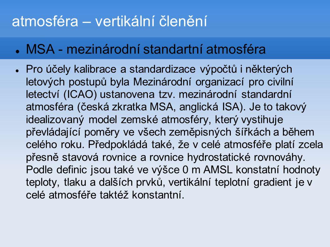 atmosféra – vertikální členění  MSA - mezinárodní standartní atmosféra  Pro účely kalibrace a standardizace výpočtů i některých letových postupů byla Mezinárodní organizací pro civilní letectví (ICAO) ustanovena tzv.