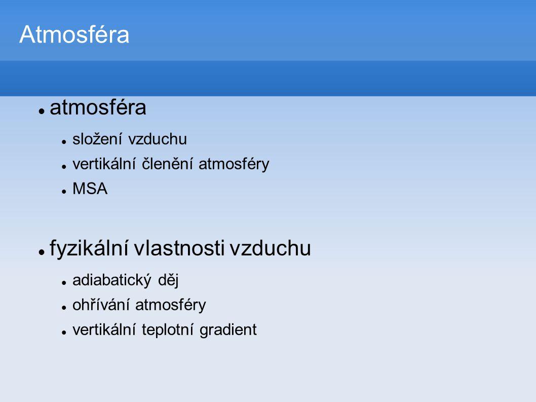 Atmosféra  atmosféra  složení vzduchu  vertikální členění atmosféry  MSA  fyzikální vlastnosti vzduchu  adiabatický děj  ohřívání atmosféry  vertikální teplotní gradient