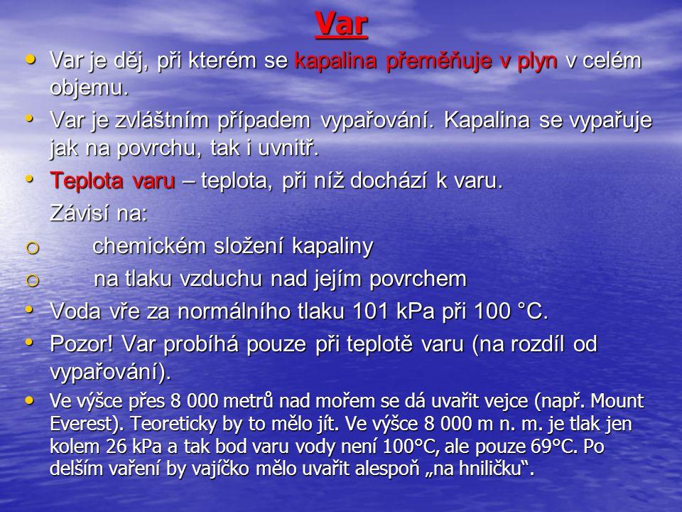 Var • Var je děj, při kterém se kapalina přeměňuje v plyn v celém objemu.