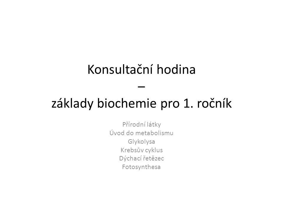 Konsultační hodina – základy biochemie pro 1.