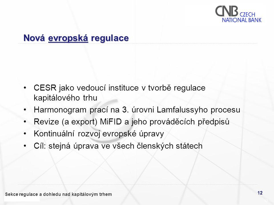 12 Sekce regulace a dohledu nad kapitálovým trhem 12 Nová evropská regulace •CESR jako vedoucí instituce v tvorbě regulace kapitálového trhu •Harmonogram prací na 3.