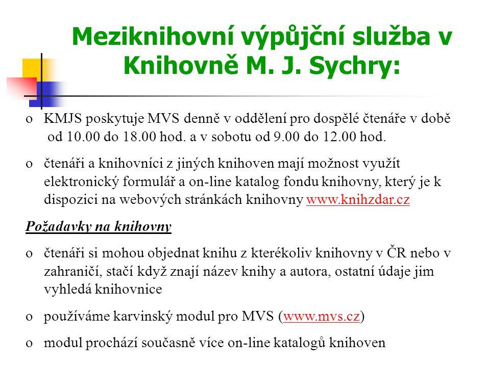 Meziknihovní výpůjční služba v Knihovně M. J.