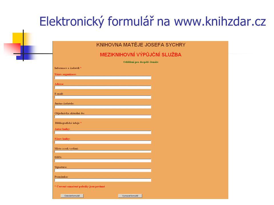 Elektronický formulář na www.knihzdar.cz