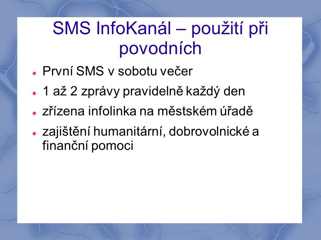 SMS InfoKanál – použití při povodních  První SMS v sobotu večer  1 až 2 zprávy pravidelně každý den  zřízena infolinka na městském úřadě  zajištěn