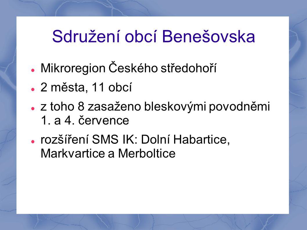 Sdružení obcí Benešovska  Mikroregion Českého středohoří  2 města, 11 obcí  z toho 8 zasaženo bleskovými povodněmi 1. a 4. července  rozšíření SMS