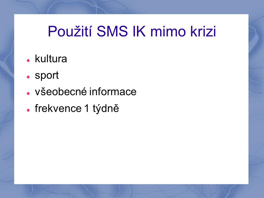 Použití SMS IK mimo krizi  kultura  sport  všeobecné informace  frekvence 1 týdně