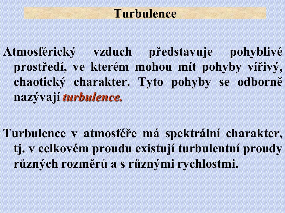 turbulence. Atmosférický vzduch představuje pohyblivé prostředí, ve kterém mohou mít pohyby vířivý, chaotický charakter. Tyto pohyby se odborně nazýva