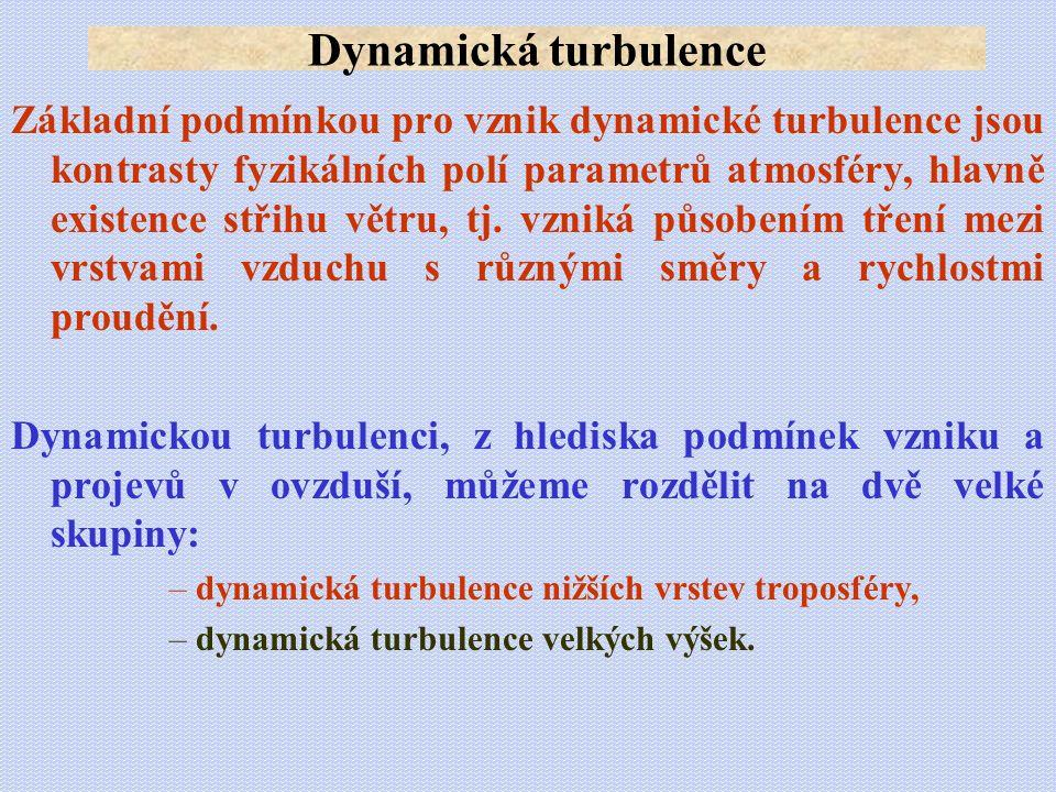 Základní podmínkou pro vznik dynamické turbulence jsou kontrasty fyzikálních polí parametrů atmosféry, hlavně existence střihu větru, tj. vzniká působ