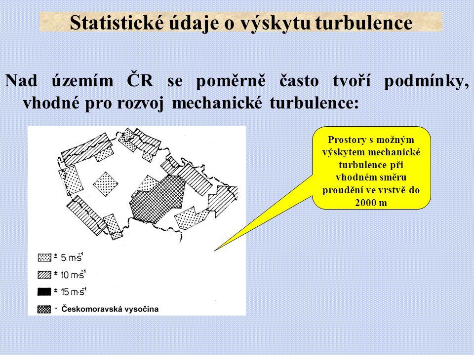 Nad územím ČR se poměrně často tvoří podmínky, vhodné pro rozvoj mechanické turbulence: Statistické údaje o výskytu turbulence Prostory s možným výsky