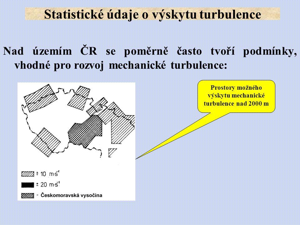 Nad územím ČR se poměrně často tvoří podmínky, vhodné pro rozvoj mechanické turbulence: Statistické údaje o výskytu turbulence Prostory možného výskyt