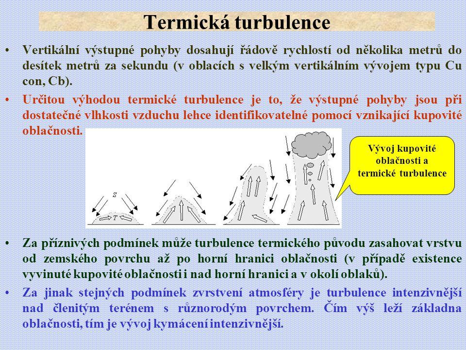 Vlnové proudění: •Vertikální pohyby na závětrné straně činí 20-30 m.s -1 a projevují se intenzivní turbulencí, čímž se stává tato oblast pro přelet nebezpečnou.