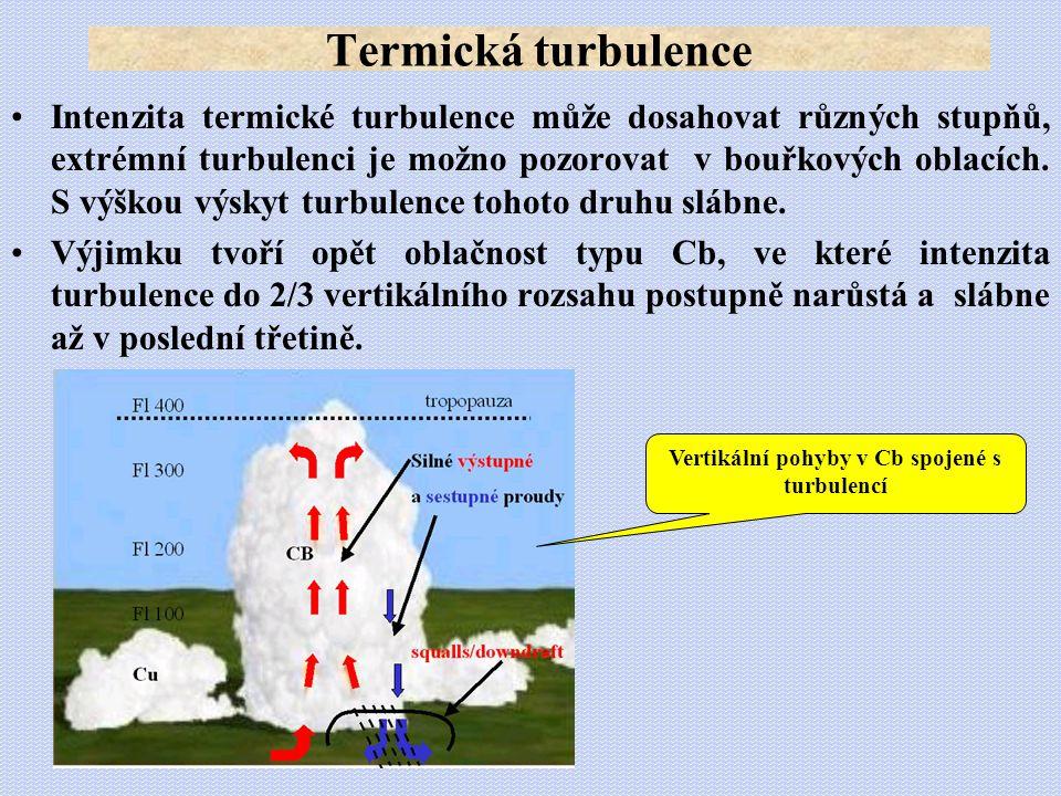 •Intenzita termické turbulence může dosahovat různých stupňů, extrémní turbulenci je možno pozorovat v bouřkových oblacích. S výškou výskyt turbulence