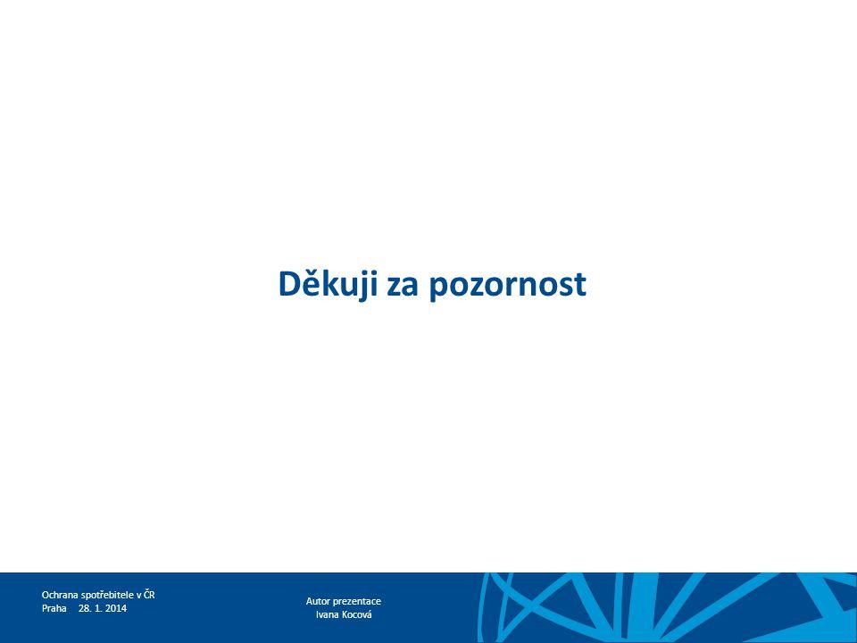 Autor prezentace Ivana Kocová Ochrana spotřebitele v ČR Praha 28. 1. 2014 Děkuji za pozornost