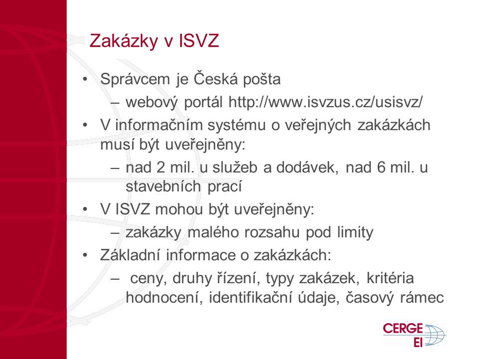 Zakázky v ISVZ •Správcem je Česká pošta –webový portál http://www.isvzus.cz/usisvz/ •V informačním systému o veřejných zakázkách musí být uveřejněny: