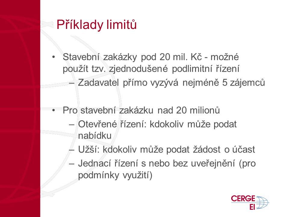 Příklady limitů •Stavební zakázky pod 20 mil. Kč - možné použít tzv. zjednodušené podlimitní řízení –Zadavatel přímo vyzývá nejméně 5 zájemců •Pro sta