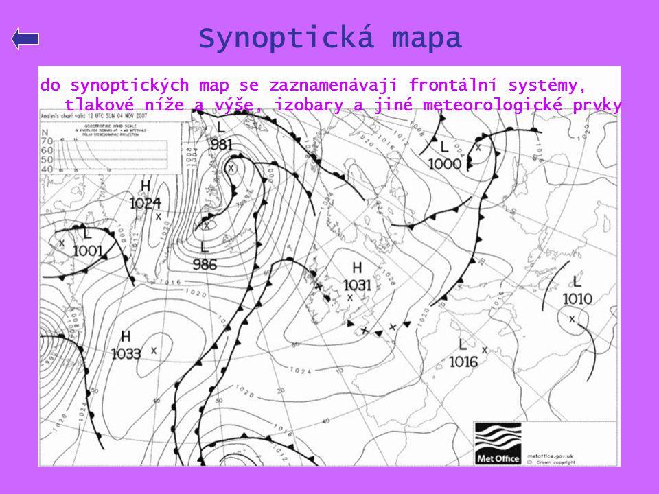 Synoptická mapa do synoptických map se zaznamenávají frontální systémy, tlakové níže a výše, izobary a jiné meteorologické prvky