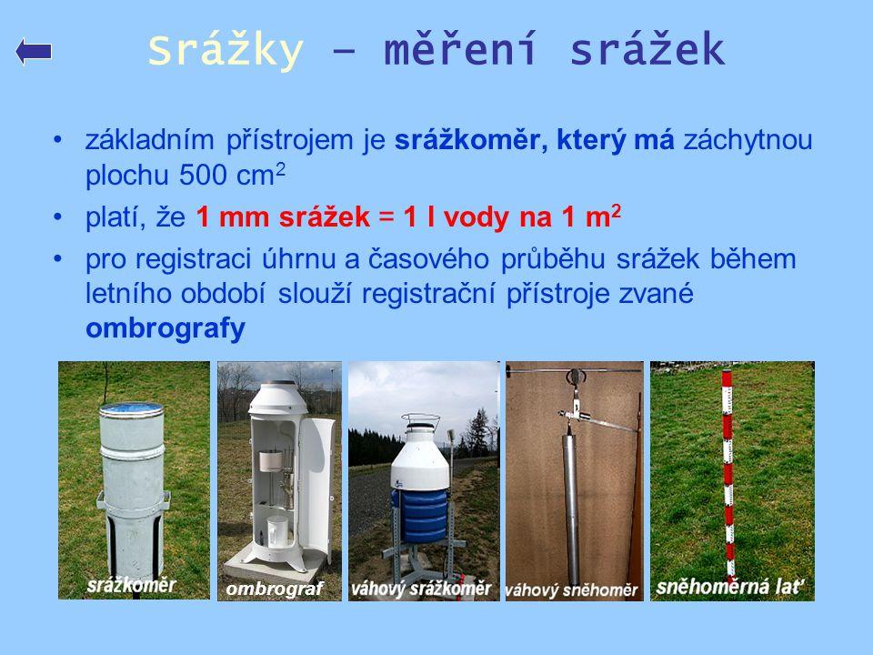 Srážky – měření srážek •základním přístrojem je srážkoměr, který má záchytnou plochu 500 cm 2 •platí, že 1 mm srážek = 1 l vody na 1 m 2 •pro registra