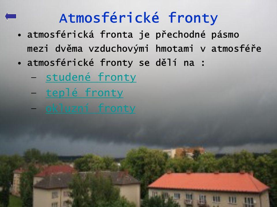 Atmosférické fronty •atmosférická fronta je přechodné pásmo mezi dvěma vzduchovými hmotami v atmosféře •atmosférické fronty se dělí na : – studené fro