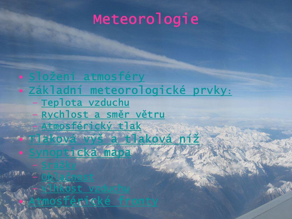 Meteorologie •Složení atmosférySložení atmosféry •Základní meteorologické prvky :Základní meteorologické prvky : –Teplota vzduchuTeplota vzduchu –Rych