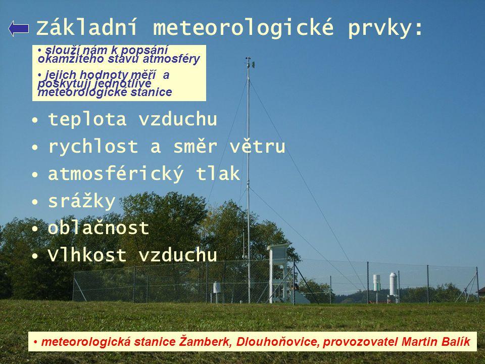 Základní meteorologické prvky: •teplota vzduchu •rychlost a směr větru •atmosférický tlak •srážky •oblačnost •Vlhkost vzduchu • slouží nám k popsání o